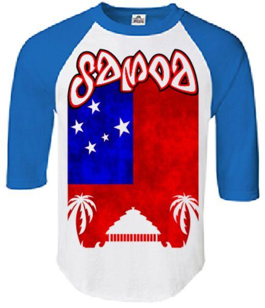 T-Shirt: Flag Samoa White Blue Half Sleeves