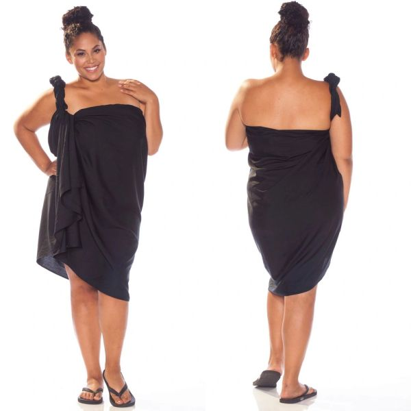 Plus Size Solid Black Lavalava, Pareo, Sarong, Canga FRINGELESS