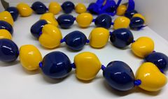 Kukuinut Lei Yellow and Navy Blue