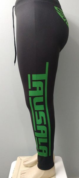 Unisex-Leggings: Tausala Black with Green Print