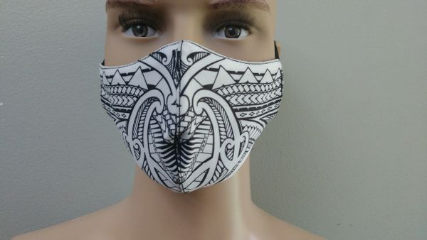Mask: Polynesian Tribal Tattoo Mask (White, black print)