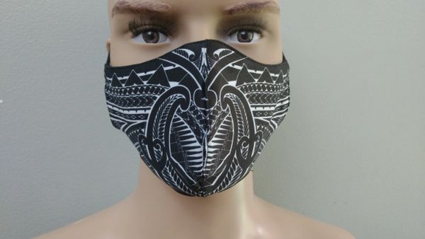 Mask: Polynesian Tribal Tattoo Mask (Black, white print)