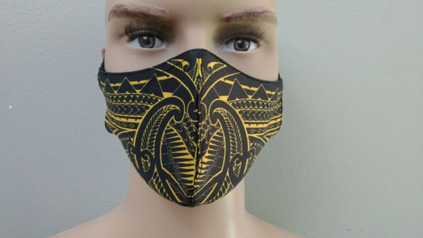 Mask: Polynesian Tribal Tattoo Mask (Black, yellow print)