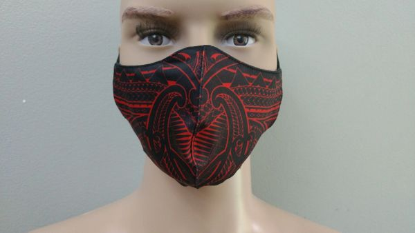 Mask: Polynesian Tribal Tattoo Mask (Black, red print)