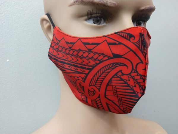 Mask: Extended Size Polynesian Tribal Tattoo Mask (Red, Black print)