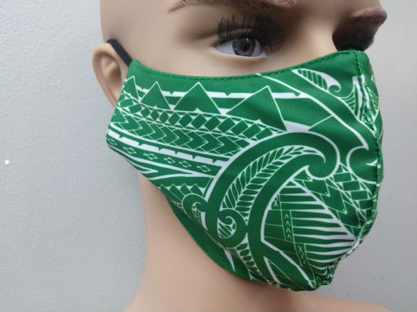 Mask: Extended Size Polynesian Tribal Tattoo Mask (Green, White Print)