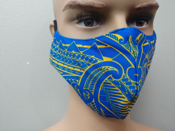 Mask: Extended Size Polynesian Tribal Tattoo Mask (Blue, Yellow Print)