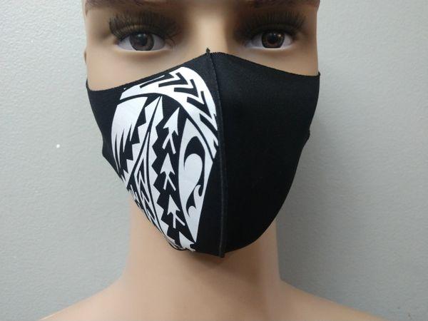Mask: Black Polynesian Tattoo print