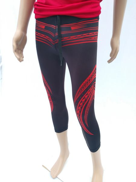 Unisex-Leggings: Black with Red Polynesian tribal tattoo designs