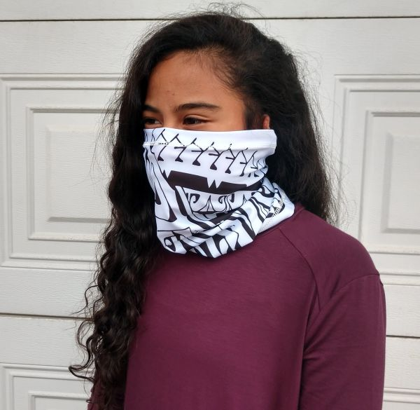 Multifunctional Facecovering White with Black print