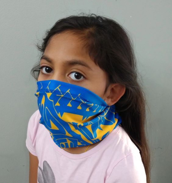 Multifunctional Facecovering Blue with Yellow print