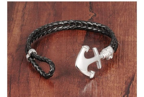 Braided leather bracelet with stainless anchor closure
