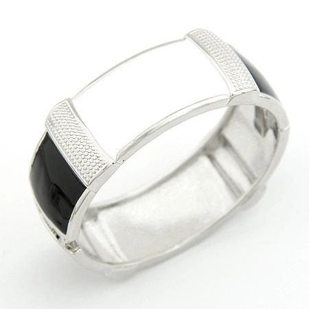 Alloy black and white bangle