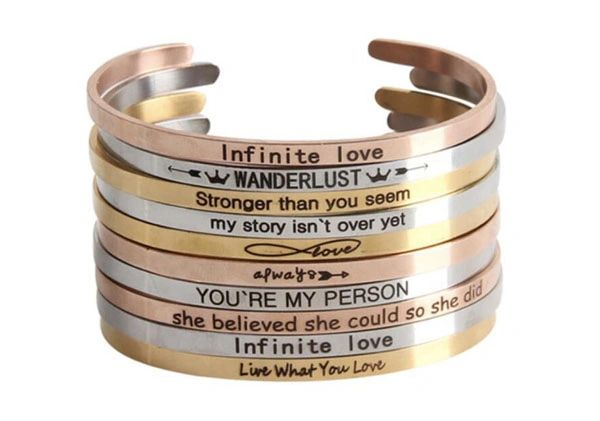 Stainless steel inspiration bangle