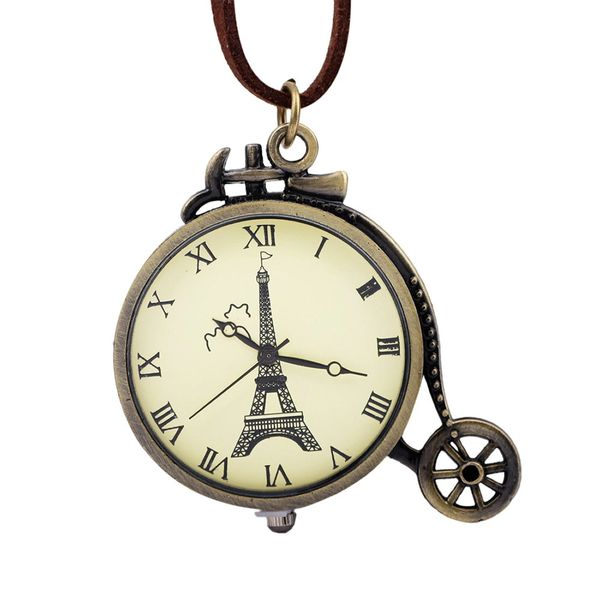 Paris unicycle necklace watch