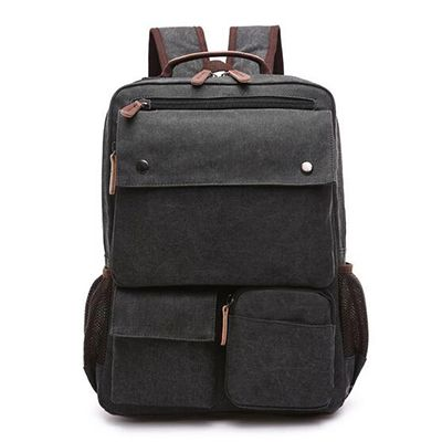 Canvas backpack with pockets
