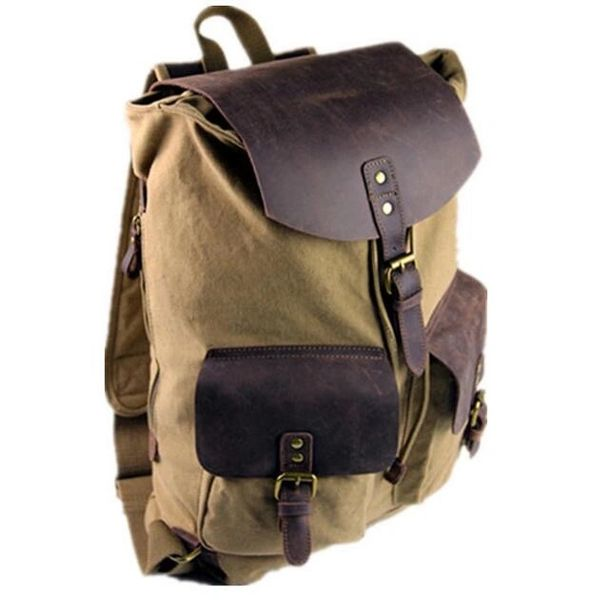 Canvas and leather vintage backpack