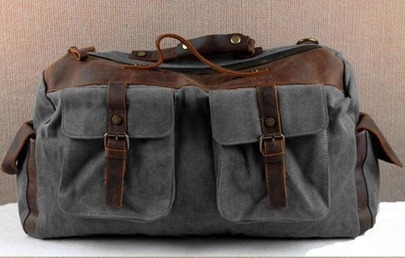 Canvas and leather duffel tote