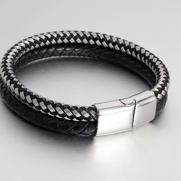 Double strand black leather bracelet