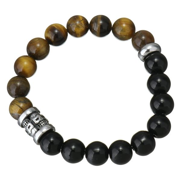 Tigers Eye and black Agate bracelet