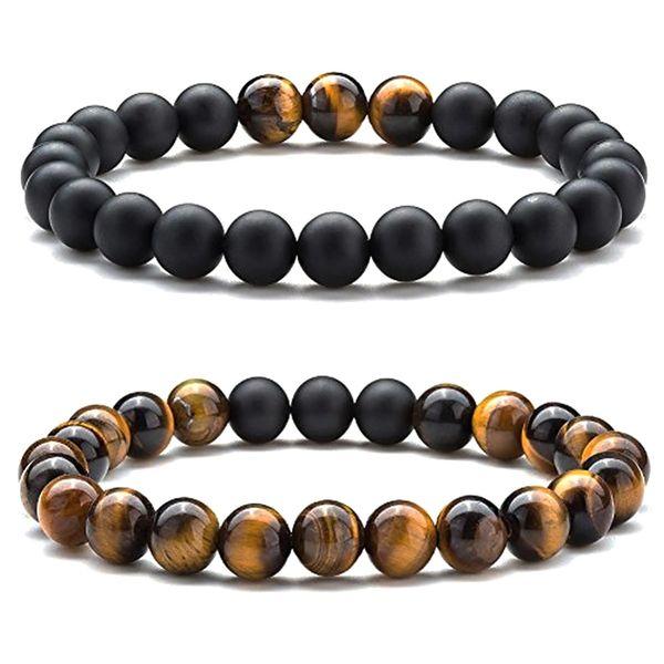 Black Agate and Tigers eye beaded bracelet set