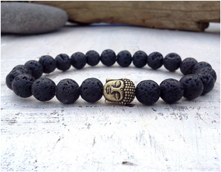 Lava and Alloy Stone beaded bracelet with Buddha charm