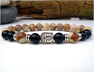 Picture jasper and Alloy beaded bracelet with Buddha charm