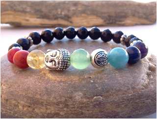 Agate and Alloy multicolored beaded bracelet