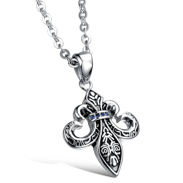 Stainless steel Fleur de Lys ornate pendant with stainless steel chain