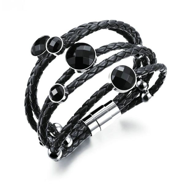 Multi-strand braided leather bracelet with bead details
