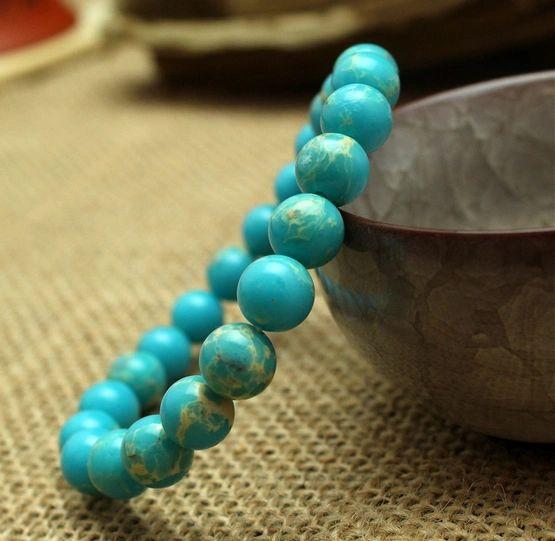 Sea Sediment Jasper stone beaded bracelet