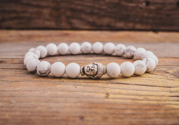 White Turquoise beaded stone bracelet with Buddha charm