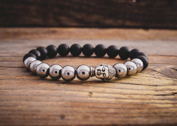 Agate and Alloy black with silver stone bracelet
