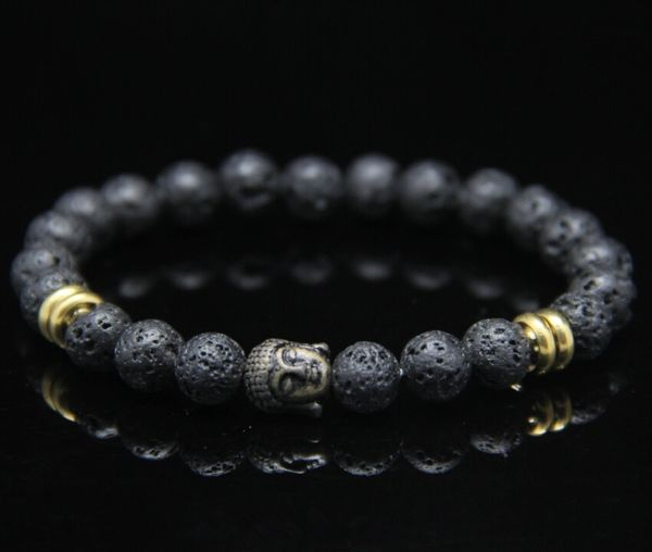 Lava beaded stone bracelet with Buddha charm