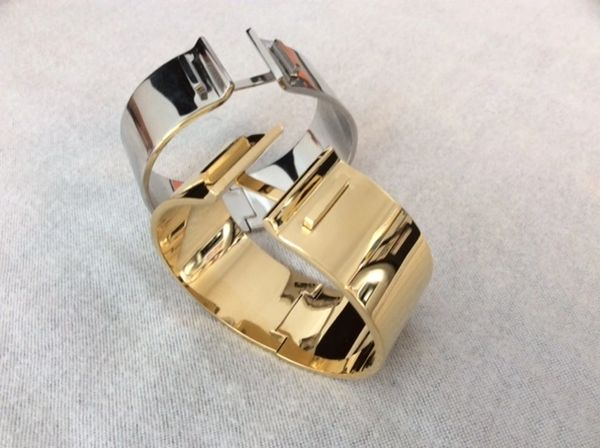 Stainless steel solid cuff bangle bracelet