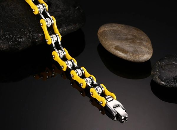 Stainless steel motorcycle chain bracelet yellow
