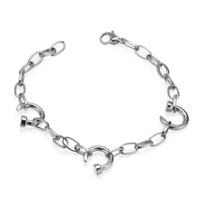 Stainless steel chain bracelet with twisted nail charms
