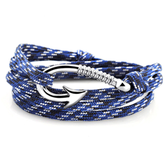 Yacht cord bracelet with stainless steel hook