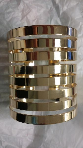 Metal rose gold light weight slatted cuff bangle