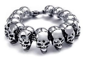 Men's skull stainless steel chain bracelet