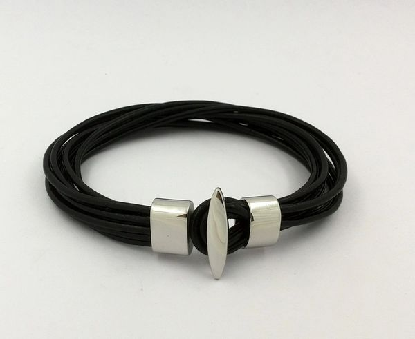 Multi strand leather string bracelet with hook bar closure