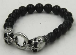 Black beads with skullhead closure
