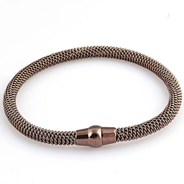 Stainless steel chain style bangle with metallic closure