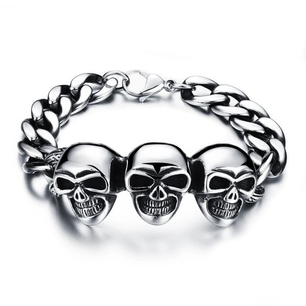 Stainless steel skull head chain bracelet