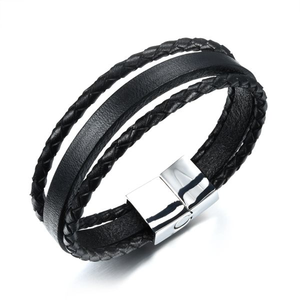 Triple strand braided and flat leather with stainless steel closure