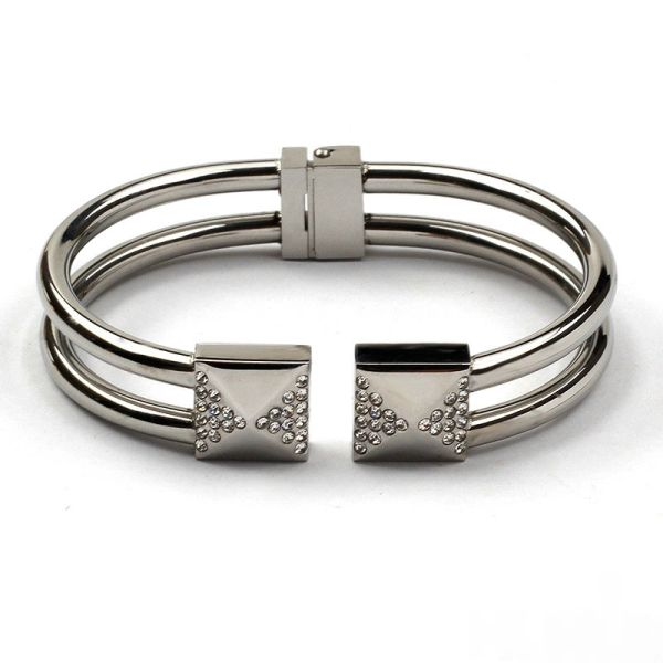 Stainless steel hinged bracelet with jeweled studs