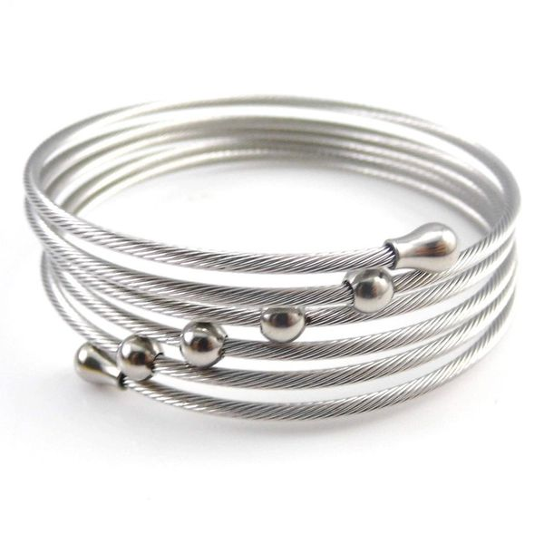 Stainless steel wrap bracelet with beads