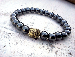 Hemalite and Alloy beaded stone bracelet