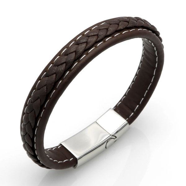 Braided and stitched brown leather bracelet