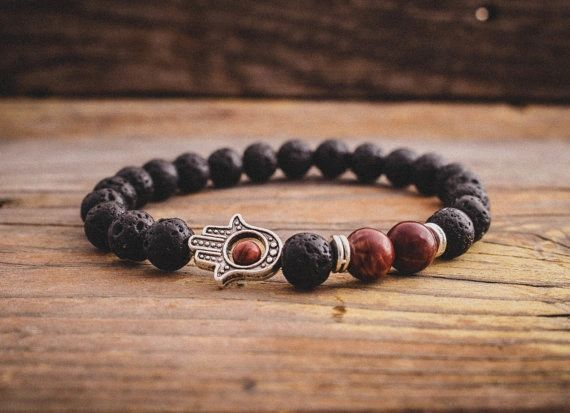 Agate and Lava stone beaded bracelet